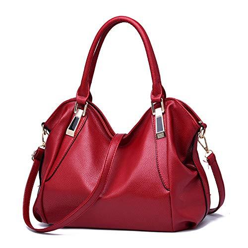 Tragetaschen Für Frauen Designer Italienischen PU Leder Große Kapazität Klassische Damen Tote Handtaschen Cross Body Schultertasche Mädchen,Onesize-Red