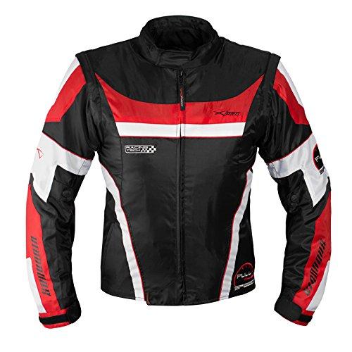 Giacca-Moto-Manica-Staccabile-Tessuto-Protezioni-CE-Sfoderabile-Gilet-Rosso-2XL