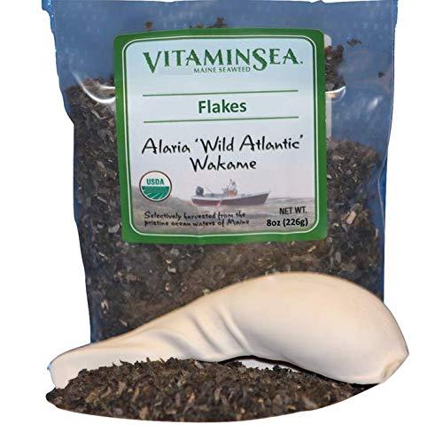 Vitaminsea Organico Wakame Fiocchi Maine - Borsa di Alghe Marine da 226.9 G - USDA e Vegan Certificato Kosher Raccolto a Mano e Seccato al sole - Raccolto Lungo la Costa dell'Oceano Atlantico (F 8)