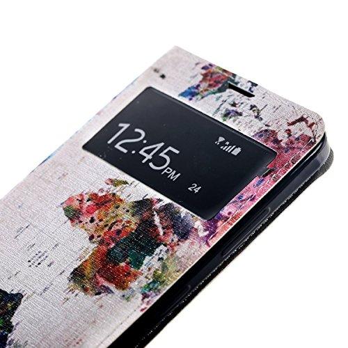 HB-Int 4 in 1 Apple iPhone 6 Finestra Flip Custodia Case Protettiva Portafoglio Stand Accessori Colorato Case Carta Geografica Modello Custodia Book Style Magnetico Flip PU Portafoglio Leather cassa i Carta Geografica