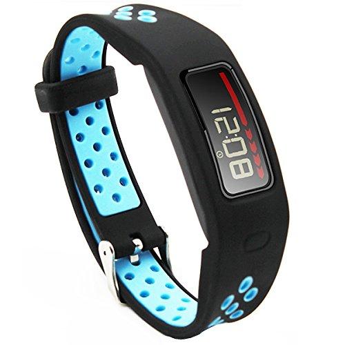 Elespoto Garmin Vivofit 1 accesorios correa de repuesto banda deporte correas para Garmin Vivofit 1 generación pulsera Fitness inalámbrico pulsera reloj inteligente rastreador actividad con hebilla de metal (Black Blue)