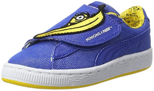 Puma Unisex-Kinder Minions Basket Wrap Statement Denim PS Sneaker, Blau Lapis Blue Yellow, 34 EU