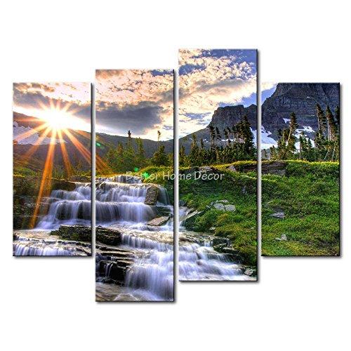 YEHO Art Gallery Sunrise über die Berge Wasserfall Bäume Kunstdruck auf Leinwand Den Bild Landschaft Bilder Art Deco 1 Panel Ready to Hang -