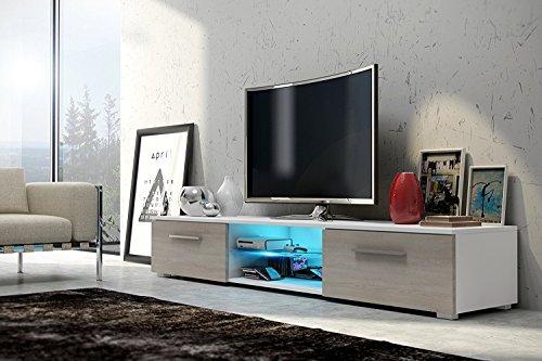 Edith - meuble TV (140cm, Blanc mat/ Brun Clair mat avec l'éclairage LED Bleue)