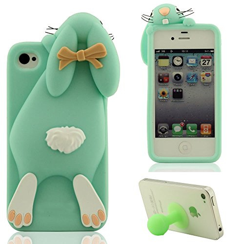 3D Joli Mode Lapin Apparence Doux Silicone Gel iPhone 4 Coque protection ( Rouge ), Apple iPhone 4S Étui, Dessin animé Animal Style Case Anti choc + Silicone Titulaire Cyan
