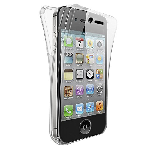 CABLING® Coque DOUBLE GEL Silicone Protection INTEGRAL pour le Smartphone IPHONE 4/ 4S/ - Transparent INVISIBLE