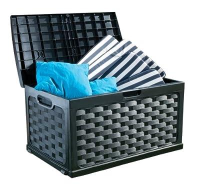 XL Kissenbox, Auflagenbox, Bank im Rattan-Design und mit 270 Ltr. Volumen! Mit abschließbarem Deckel, auch zum Sitzen geeignet. In einem dunklen Anthrazit Grau gehalten. Maße 117 x 56 x 58 cm ! TOPP von Starplast - Du und dein Garten