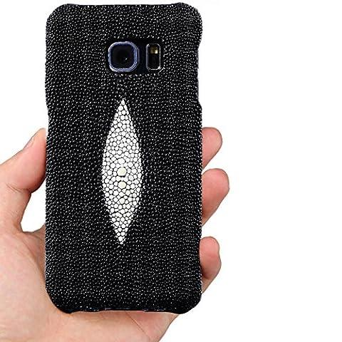 Emballage blister & T Samsung S6Edge en cuir véritable peau [Sting Ray] Premium–100% fait main en cuir véritable (qualité supérieure) Coque arrière pour Samsung S6Edge, Cuir, - noir, Original Pearl