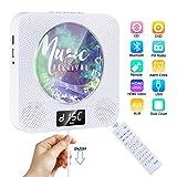 DVD/CD Player Bluetooth Gueray Tragbarer CD Player Wandmontage mit HiFi Lautsprecher LED-Display Heim-Audio-Boombox mit Fernbedienung Unterstützt FM-Radio MP3 USB 3,5 mm Kopfhöreranschluss für Kinder -