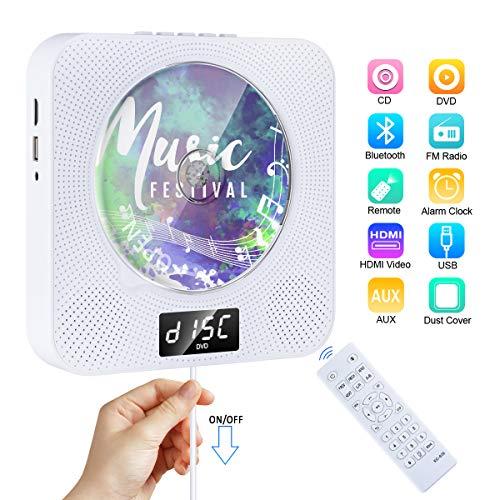 DVD/CD Player Bluetooth Gueray Tragbarer CD Player Wandmontage mit HiFi Lautsprecher LED-Display Heim-Audio-Boombox mit Fernbedienung Unterstützt FM-Radio MP3 USB 3,5 mm Kopfhöreranschluss für Kinder