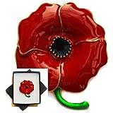 "NEW BOXED 1,8"" LARGE POPPY GOLD BROOCH RED ENAMEL FLOWER PIN BROACH IN BLACK PRESENTATION BOX UK SELLER"
