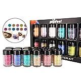 Polvere di paillettes glitter colorati, 12pcs / set trucco occhi labbra decorazione paillette scintilla