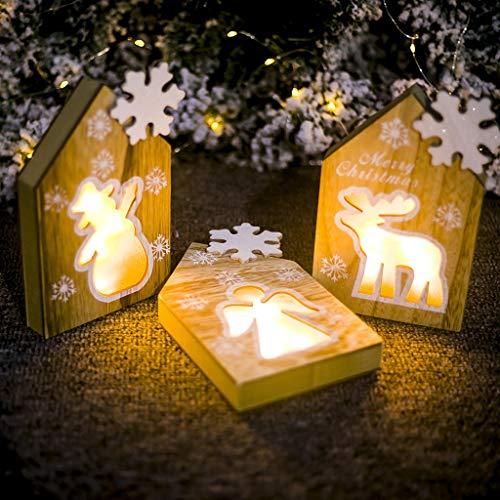 vijTIAN - Lampada in Legno a Forma di Babbo Natale o Pupazzo di Neve, Decorazione da Tavolo per la casa, per Feste di Natale, per Creare un'atmosfera Natalizia Forte per la Famiglia B