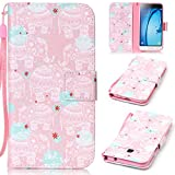 Samsung J3 Case SmartLegend Samsung Galaxy J3 2015/2016 Version Cover Strap Leather Wallet Case Colorful Arting Painting Pattern Design PU Bumper with Magnet Closure and Card Slots Holster Stand Function Smartphone Protective Case -Pink Elephant
