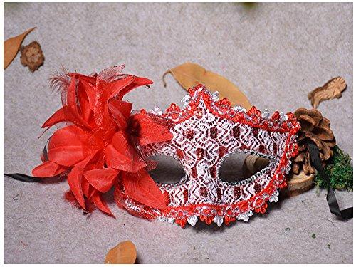 Hemore Venezianischen Augenmaske Strass-Steinen Maske Rot Venezia Sexy -