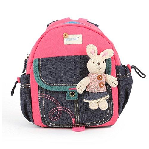 JameStyle26 Jeans Bunny Rabbit Baby Kinderrucksack Kindergarten Kaninchen Tornister Häschen Rucksack Schultasche Backpack Tasche Mädchen Junge (Rosa) -