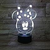 Yangll Cartoon Mickey Mouse 3D Lampe 7 Farben Ändern Nachtlicht USB Tischlampe Nachtstimmung Licht Für Kinder Lava Lampe