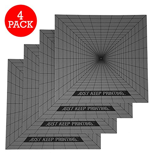 Beste 3D Druck Aufbau Oberfläche – 4er Pack 8x8 quadratischen Grundlagen – Druckt alle Filamente mit starker Haftung ohne Verziehen – Extremer Halt für ABS, PLA, HIPS, PET+, Brick, und Flexible (TPE)
