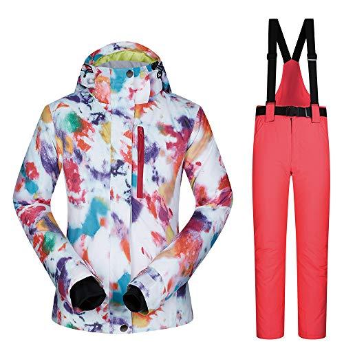 Giacca da Sci da Sci per Donna Hook.s Giacca Invernale Imbottita da Donna con Pantaloni Impermeabile e Antivento