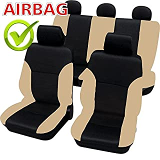 Akhan SB102 - Qualität Auto Sitzbezug Sitzbezüge Schonbezüge Schonbezug mit Seitenairbag Schwarz/Beige