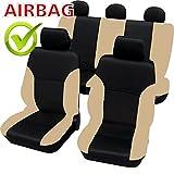 SB102 - Cubierta de asiento de coche, Protector Asiento de coche, Fundas para asientos de coche con airbag lateral NEGRO/BEIGE