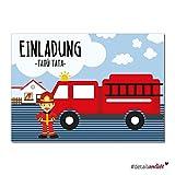 15 Feuerwehr Einladungskarten I dv_189 I DIN A6 I Einladung Set Kinder-Geburtstag zum Ausfüllen für Kinder Jungen Jungs