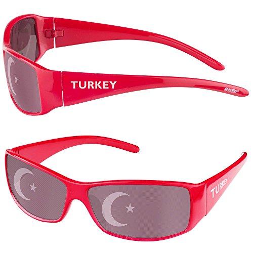 Taffstyle® Fanartikel Sonnenbrille Fan Brille zur Fussball Weltmeisterschaft WM & EM Europameisterschaft 2016 Länder Flagge Style - Türkei