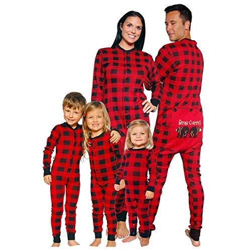 Mibuy Pijamas Navideños Familiares,Ropa para Padres E Hijos Conjuntos Ropa Familiar Navidad Patrón Renos Feliz Navidad Sudaderas Manga Larga Pantalones A Cuadros 2 Piezas Conjuntos Pijamas (Papa,XL)