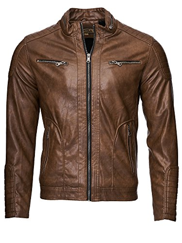 Uomini giacca in pelle giacca da uomo   similpelle   1002 marrone S