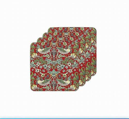 William Morris Set 4Untersetzer rot Erdbeerdieb Tapisserie
