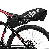 ROSWHEEL 10L Bolsa para Sillín Enrollable de Bicicleta Montaña Bici Mochila Alforja Impermeable Asiento de Ciclismo en Forma de Cuña con Correa Tija o Asiento Tresero,Color Negro