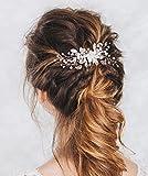 Aukmla - Peigne à cheveux de mariage à strass et fleurs, accessoires de mariage pour mariée et demoiselle d'honneur