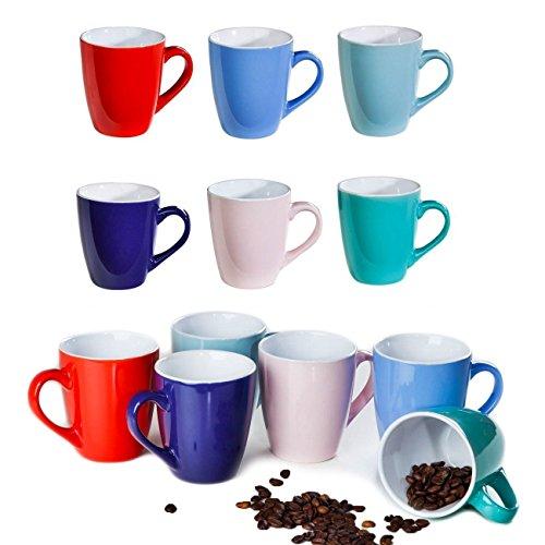 12 bunte Kaffee-Becher aus Keramik im Set für a 150ml in 6 schönen Pastell Farben. Genießen Sie Ihren Tee, Kaffe oder Cappuccino aus diesen modischen Kaffe-Tassen.