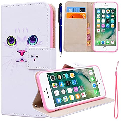 Yokata iPhone 7 Hülle Leder Flip Wallet Case Ledertasche mit