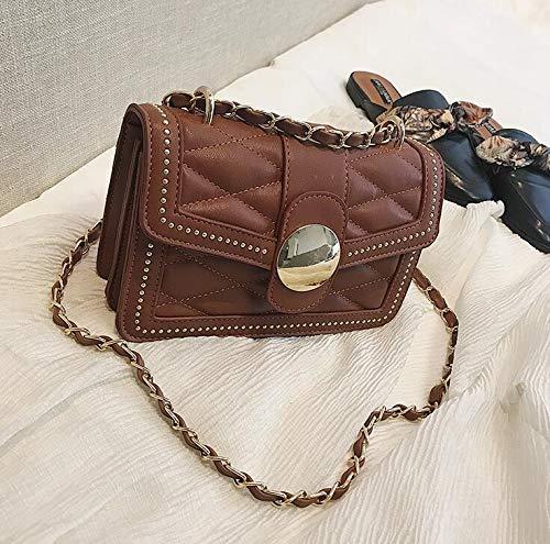 DJBMENG Britische Retro-Mode-Quadrat-Tasche Damen Designer-Handtasche Neue Qualität Pu-Leder Frauen Tasche Kette Schulter Messenger Bags 21 6 14 cm Braun