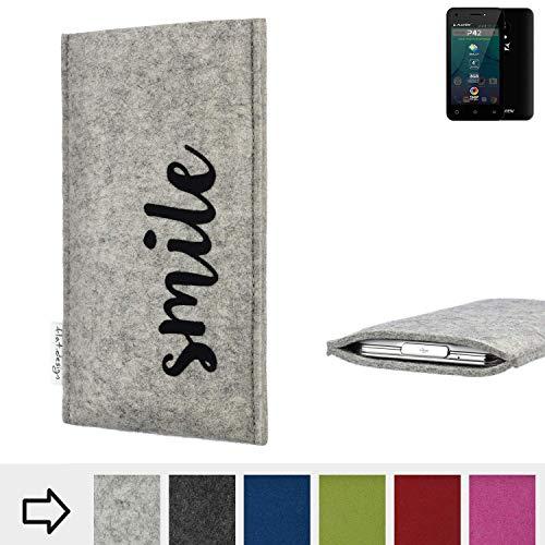 flat.design Handy Hülle FARO für Allview P42 personalisierbare Handytasche Filz Tasche Case Smile fair