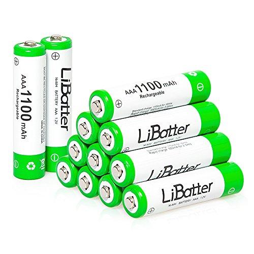LiBatter AAA 1100mAh Ni-MH Baterías recargables 500-1000 baterías recargables de ciclo 1 paquete (12 unidades)