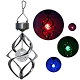 Waterproof Solar LED Wind Chime Rotating colourful moving Colour Changing Outdoor Stainless Spinner Spiral Hanging Garden Lawn Seed Balcony Patio Decorative Window Light Lamp