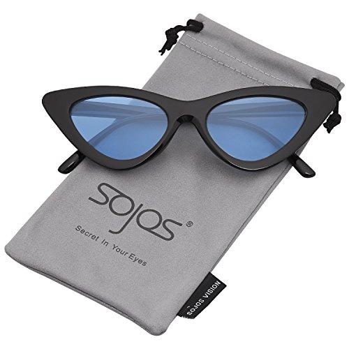 SOJOS Katzenauge Rahmen Mode UV-Schutz Damen Sonnenbrille Cat Eye SJ2044 mit Schwarz Rahmen/Blau Linse