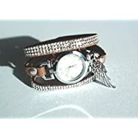 Armbanduhr mit Strassarmband - Wickeluhroptik und Engelsflügel