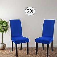 Funda para sillas paquete de 2, fundas elásticas para comedor, cubiertas para sillas,bielástico Extraíble funda, muy cómodo, fácil de limpiar, duradera. (Azul zafiro)