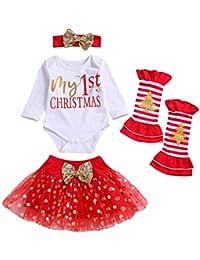Bodenbildung Shirt Baby Kind Langarm Weihnachten Brief Kleidung + Pettiskirt Rock + Beinanzug Anzug Mädchen Weihnachtstag Overall Strampler Pyjamas