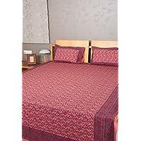 Indian Home Bloquear Muebles Impreso Doble Tamaño de la cama hoja de cama de algodón con fundas de almohada Tamaño 84 x 105 pulgadas