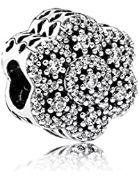 Stone Beads Hielo Flores Charm–Mujer de Charm 925plata de ley compatible con pandora pulsera de colgantes