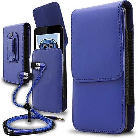 iTALKonline Samsung T509 Blu PREMIUM PU pelle verticale esecutivo laterale della cassa del sacchetto per armi della copertura con attacco cintura Clip e chiusura magnetica
