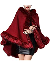 KAXIDY Abrigos de Moda Mujer Piel Imitación Capas Abrigos Invierno Chaquetas Ponchos Capas