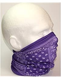 TC-Accessories PURPLE white PAISLEY neck scarf/durag/tube scarf/snood