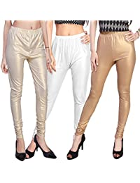 ROOLIUMS ® (Brand Factory Outlet) Women's Supersoft Lycra Shimmer Leggings - Dark And Light Golden, White (Pack...