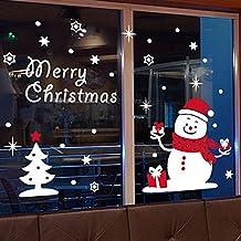Etiqueta de pared decorativos de muñeco de nieve/día de la navidad,año,el comercial,goma de cristal/nieve,pegatinas de ventana de árbol de navidad-A