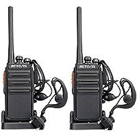 Retevis RT24 Walkie Talkie PMR446 0.5W Ricetrasmettitore Licenza-Libero Radio Lunga Distanza VOX BCL Ricetrasmittenti (Nero,2 Pezzi)